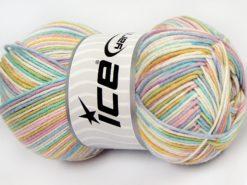 Lot of 4 x 100gr Skeins Ice Yarns LORENA COLOR (50% Cotton) Yarn Pastel Rainbow