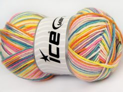Lot of 4 x 100gr Skeins Ice Yarns LORENA COLOR (50% Cotton) Yarn Pink Turquoise Green Lilac Blue White