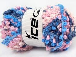 Lot of 4 x 100gr Skeins Ice Yarns BOUCLERON CHAIN Yarn Pink Shades Blue Shades