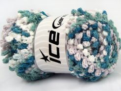 Lot of 4 x 100gr Skeins Ice Yarns BOUCLERON CHAIN Yarn Turquoise Shades Beige White