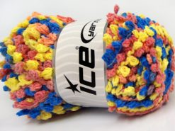 Lot of 4 x 100gr Skeins Ice Yarns BOUCLERON CHAIN Yarn Salmon Shades Blue Green Yellow