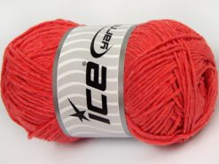 Lot of 4 x 100gr Skeins Ice Yarns NATURAL COTTON WORSTED (100% Cotton) Yarn Salmon