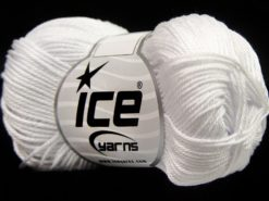 Lot of 6 Skeins Ice Yarns GIZA COTTON Hand Knitting Yarn White