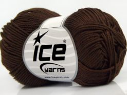 Lot of 6 Skeins Ice Yarns GIZA COTTON Hand Knitting Yarn Dark Brown
