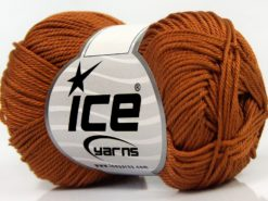 Lot of 6 Skeins Ice Yarns GIZA COTTON Hand Knitting Yarn Caramel
