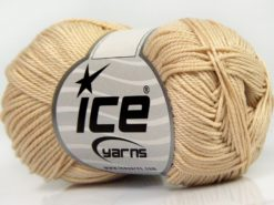 Lot of 6 Skeins Ice Yarns GIZA COTTON Hand Knitting Yarn Dark Cream