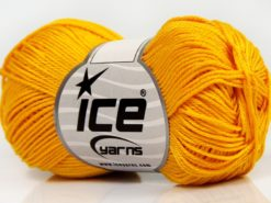 Lot of 6 Skeins Ice Yarns GIZA COTTON Hand Knitting Yarn Dark Yellow