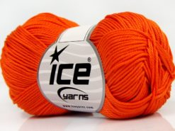Lot of 6 Skeins Ice Yarns GIZA COTTON Hand Knitting Yarn Orange