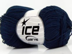 Lot of 6 Skeins Ice Yarns GIZA COTTON Hand Knitting Yarn Dark Navy