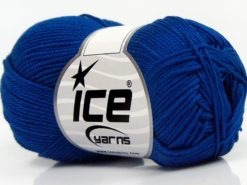 Lot of 6 Skeins Ice Yarns GIZA COTTON Hand Knitting Yarn Royal Blue