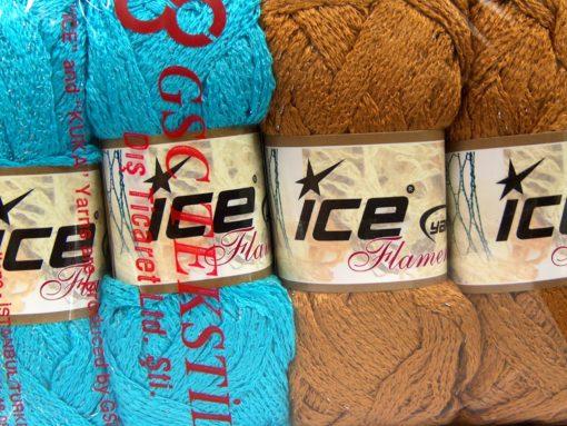 Lot of 4 x 100gr Skeins Ice Yarns Flamenco SCARF YARNS MIXED LOT Scarf Yarn Multicolor