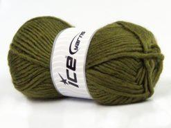 Lot of 4 x 100gr Skeins Ice Yarns MOHAIR BULKY (5% Mohair 10% Wool) Yarn Khaki
