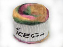 Lot of 2 x 150gr Skeins Ice Yarns CAKES FLUFFY (5% Mohair) Yarn Cream Shades Pink Green Shades Burgundy