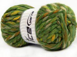 Lot of 4 x 100gr Skeins Ice Yarns ASTORIA (25% Wool) Yarn Green Shades Gold Orange Cream