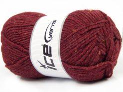 Lot of 4 x 100gr Skeins Ice Yarns SUPER TWEED (20% Wool 5% Viscose) Yarn Dark Burgundy