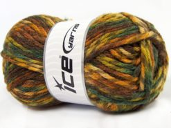 Lot of 4 x 100gr Skeins Ice Yarns THOR (25% Wool) Yarn Brown Shades Green Shades