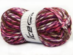 Lot of 4 x 100gr Skeins Ice Yarns THOR (25% Wool) Yarn Purple White Brown Pink