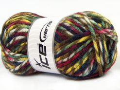 Lot of 4 x 100gr Skeins Ice Yarns THOR (25% Wool) Yarn Navy Yellow Green Brown Burgundy
