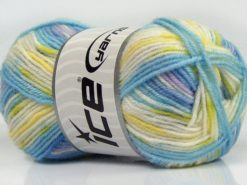 Lot of 8 Skeins Ice Yarns MINI BABY DESIGN (25% Wool) Yarn Blue Shades Yellow Green White Light Lilac