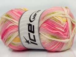 Lot of 8 Skeins Ice Yarns MINI BABY DESIGN (25% Wool) Yarn Pink Shades White Yellow Green