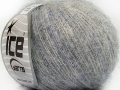 Lot of 10 Skeins Ice Yarns SUPERKID MOHAIR COMFORT (41% SuperKid Mohair 11% Merino Wool) Yarn Light Grey Light Lilac