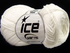 Lot of 8 Skeins Ice Yarns TUBE COTTON FINE (67% Cotton) Yarn White