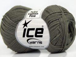 Lot of 8 Skeins Ice Yarns TUBE COTTON FINE (67% Cotton) Yarn Light Khaki