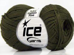 Lot of 8 Skeins Ice Yarns TUBE COTTON FINE (67% Cotton) Yarn Dark Khaki