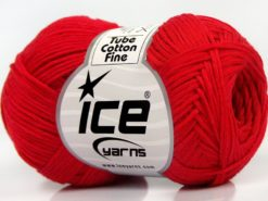 Lot of 8 Skeins Ice Yarns TUBE COTTON FINE (67% Cotton) Hand Knitting Yarn Red