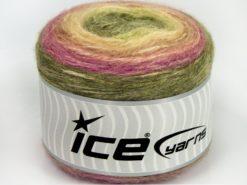 Lot of 3 x 100gr Skeins Ice Yarns CAKES ALPACA (25% Alpaca 25% Wool) Yarn Green Shades Fuchsia
