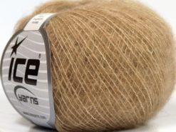 Lot of 10 Skeins Ice Yarns MERINO SUPERFINE COTTON (66% Extrafine Merino Wool 16% Cotton) Yarn Light Brown