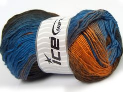 Lot of 4 x 100gr Skeins Ice Yarns SALE WINTER (50% Wool) Yarn Brown Shades Gold Blue