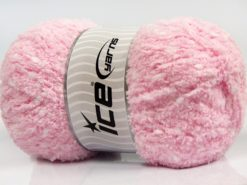 Lot of 4 x 100gr Skeins Ice Yarns PUFFY POMPOM (85% MicroFiber) Yarn Baby Pink