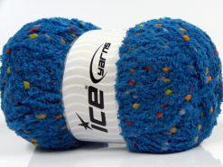 Lot of 4 x 100gr Skeins Ice Yarns PUFFY POMPOM (85% MicroFiber) Yarn Dark Blue