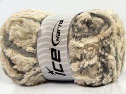 Lot of 4 x 100gr Skeins Ice Yarns PANDA DUO (100% MicroFiber) Yarn Ecru Light Grey
