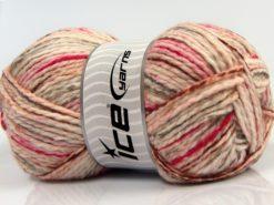 Lot of 4 x 100gr Skeins Ice Yarns WOOL FUN COLORS (30% Wool) Yarn Cream Fuchsia Grey Copper