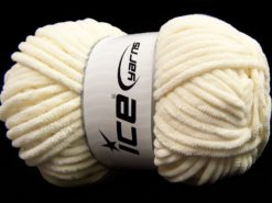 Lot of 4 x 100gr Skeins Ice Yarns SALE CHENILLE (100% MicroFiber) Yarn Light Cream