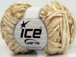 Lot of 8 Skeins Ice Yarns SALE CHENILLE Hand Knitting Yarn Dark Cream Gold