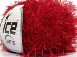 Lot of 8 Skeins Ice Yarns EYELASH Hand Knitting Yarn Red