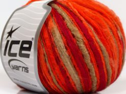 Lot of 8 Skeins Ice Yarns FLAMME COLOR Yarn Dark Red Neon Orange Camel