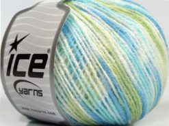 Lot of 8 Skeins Ice Yarns SALE SELF-STRIPING Yarn Blue Shades Light Green White