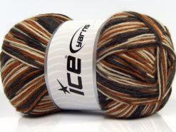Lot of 4 x 100gr Skeins Ice Yarns MAGIC SOCK (75% Superwash Wool) Yarn Brown Shades Cream Black