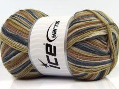 Lot of 4 x 100gr Skeins Ice Yarns MAGIC SOCK (75% Superwash Wool) Yarn Jeans Blue Camel Cream Green