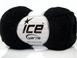 Lot of 8 Skeins Ice Yarns ELEGANT METALLIC COTTON (88% Cotton) Yarn Black