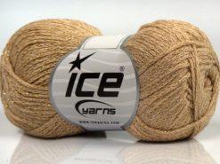 Lot of 8 Skeins Ice Yarns ELEGANT METALLIC COTTON (88% Cotton) Yarn Dark Cream
