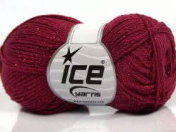Lot of 8 Skeins Ice Yarns ELEGANT METALLIC COTTON (88% Cotton) Yarn Dark Fuchsia