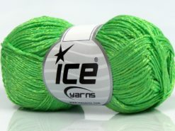 Lot of 8 Skeins Ice Yarns SUMMER FINE (67% Cotton 33% Viscose) Yarn Neon Green