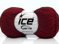Lot of 8 Skeins Ice Yarns PURE COTTON FINE (100% Cotton) Yarn Burgundy