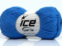Lot of 8 Skeins Ice Yarns PURE COTTON FINE (100% Cotton) Yarn Blue
