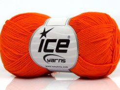 Lot of 8 Skeins Ice Yarns PURE COTTON FINE (100% Cotton) Yarn Orange
